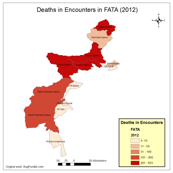 Deaths in Encounters between Army and Insurgents, and between different Insurgent Factions as well as inter-Tribal conflicts and clashes between pro-government Lashkars and Taliban