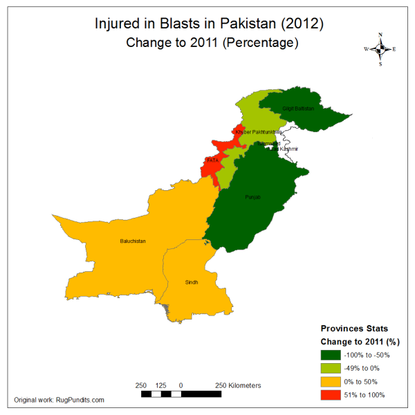 Change in Total Injured/Maimed due to Blasts, Armed Encounters and Drone Strikes in 2012 compared to 2011