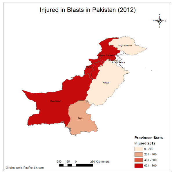 Total Injured/Maimed due to Blasts, Armed Encounters and Drone Strikes in 2012
