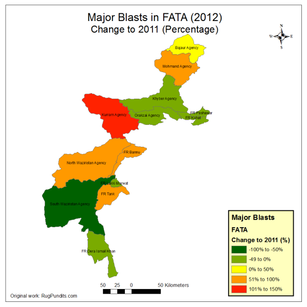 Change between 2011 and 2012 in Blasts in all FATA and FR