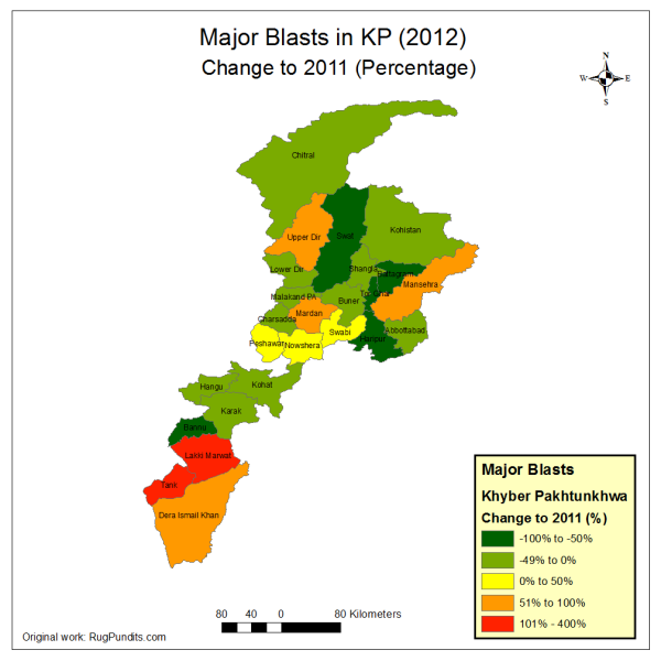 Major Blasts in KP province in 2012 compared to 2011 (% change)