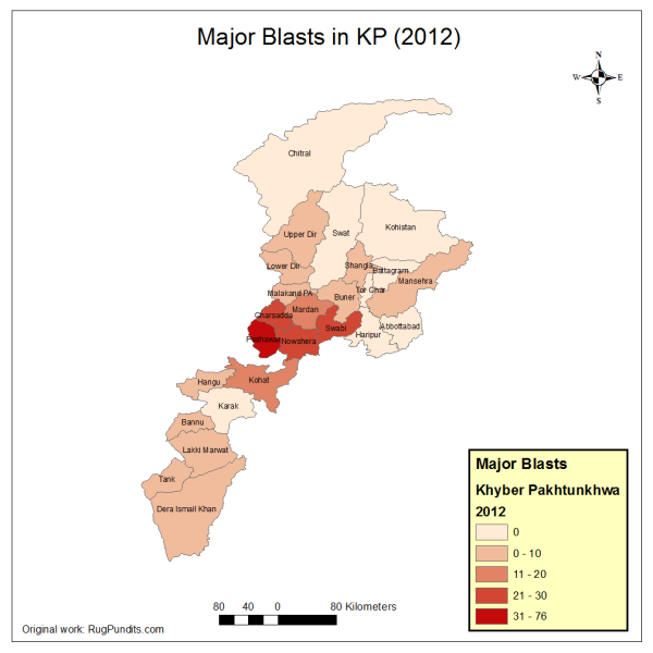 Major Blasts in KP province in 2012