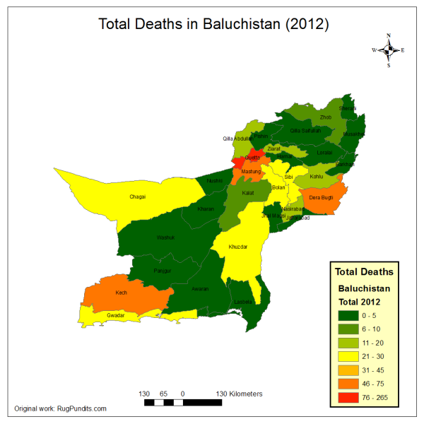 Total Number of Deaths in Baluchistan in 2012