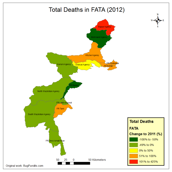 Total Deaths in FATA and FR during 2012 (blasts, encounters, drone strikes)