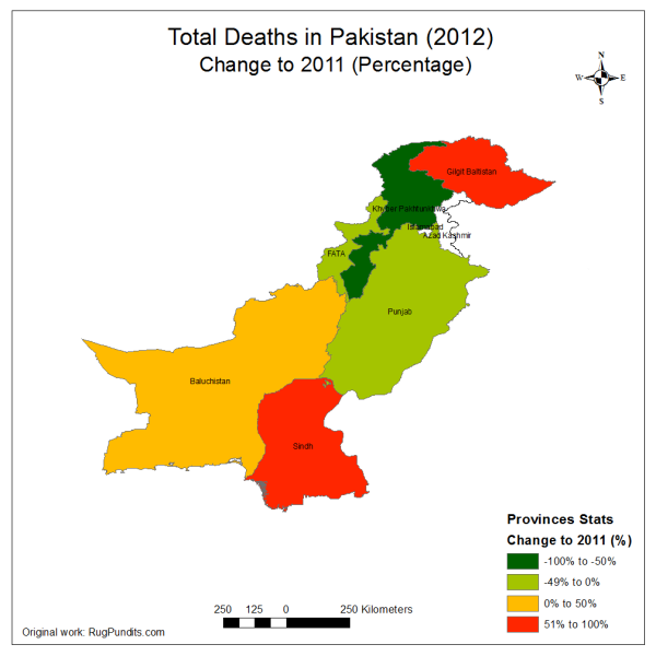 Change in Total Fatalities due to Blasts, Armed Encounters and Drone Strikes in 2012 compared to 2011