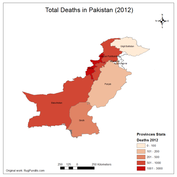 Total Fatalities due to Blasts, Armed Encounters and Drone Strikes in 2012