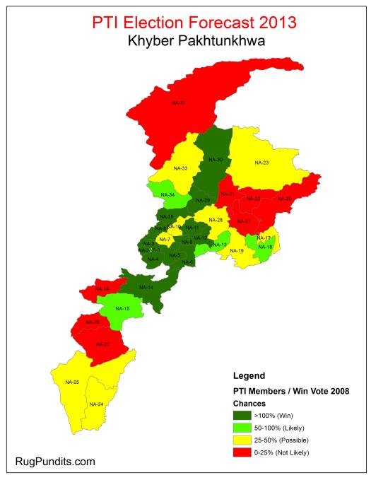 PTI Election Forecast 2013 - Khyber Pakhtunkhwa (KPK)