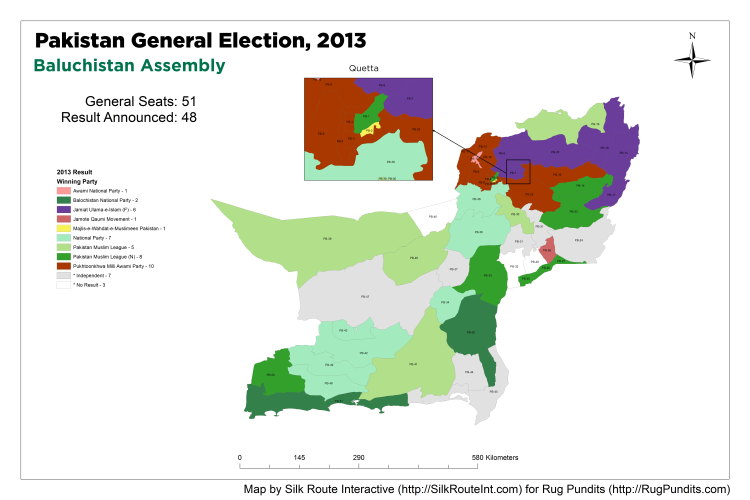 Pakistan General Election Result 2013 - Baluchistan Assembly Map