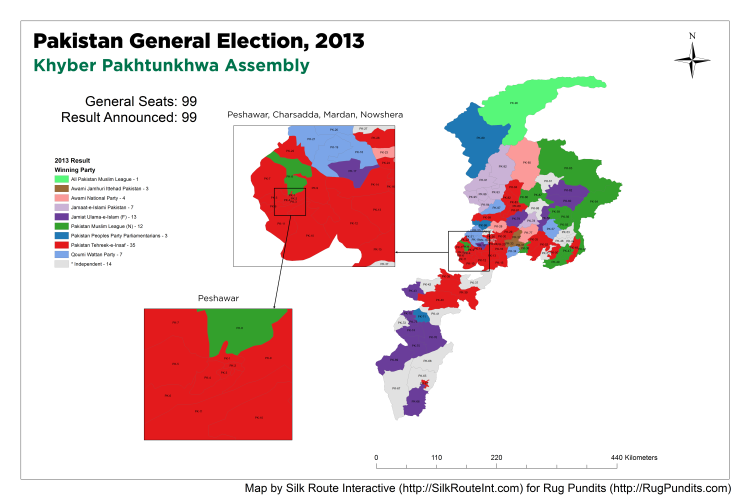 Pakistan General Election Result 2013 - Khyber Pakhtunkhwa (KPK) Assembly Map