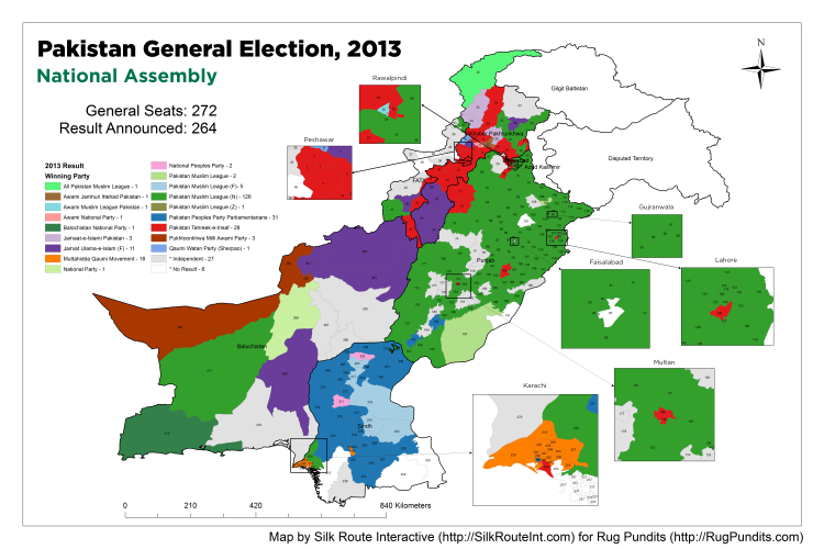 Pakistan General Election Result 2013 - National Assembly Map
