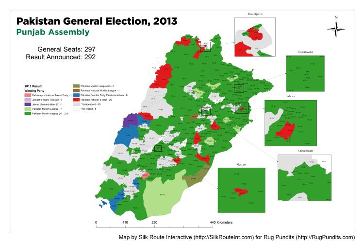 Pakistan General Election Result 2013 - Punjab Assembly Map