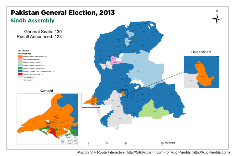 Pakistan General Election Result 2013 - Sindh Assembly Map